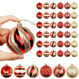 OurWarm 36er Set Christbaumkugeln,6 Arten von großem Rot und Gold bruchsicheren Weihnachtskugel Set für Weihnachtsbaumschmuck,Christbaumschmuck, Hochzeitsdekoration, (7cm Ø Durchmesser) - 1