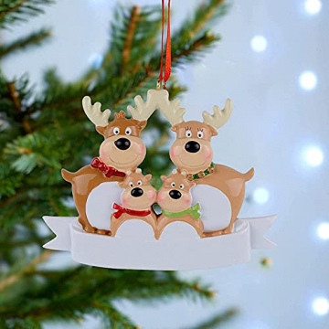 Outdoor Store Personalisierte Rentierfamilie, Christbaumschmuck, süße Weihnachtsmann-Winter-Geschenk-Jahr langlebig 2021 Familie Weihnachtsdekoration Set Kreatives Geschenk (Size : C) - 4