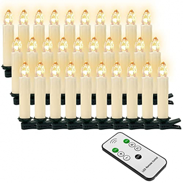 OZAVO 30er Weihnachten Kerzen LED Weihnachtskerzen Lichterkette Kabellos Baumkerzen Christbaumkerzen mit Fernbedienung - 1