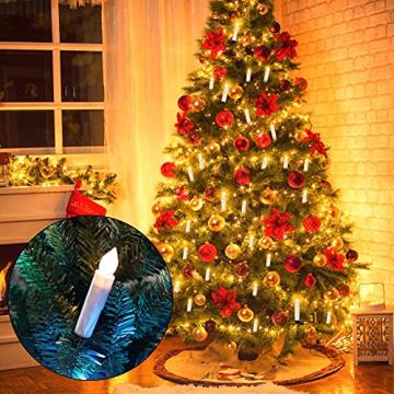 OZAVO 30er Weihnachten Kerzen LED Weihnachtskerzen Lichterkette Kabellos Baumkerzen Christbaumkerzen mit Fernbedienung - 6