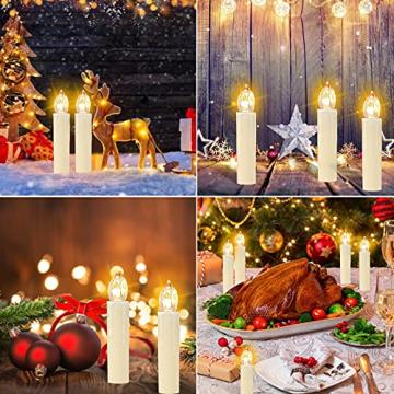 OZAVO 30er Weihnachten Kerzen LED Weihnachtskerzen Lichterkette Kabellos Baumkerzen Christbaumkerzen mit Fernbedienung - 7