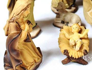 PREMIUM Krippenfiguren 12er SET handbemalt/GEBEIZT in edler Echtholz - Optik für Holz Weihnachtskrippe Zubehör, komplett MIT HOLZBOX KFK-Box - saubere Gesichtszüge, feine Mimik, handbemalte - 5