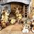 PREMIUM Krippenfiguren 12er SET handbemalt/GEBEIZT in edler Echtholz - Optik für Holz Weihnachtskrippe Zubehör, komplett MIT HOLZBOX KFK-Box - saubere Gesichtszüge, feine Mimik, handbemalte - 1