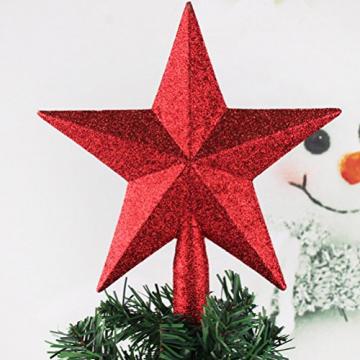 PRETYZOOM Glitzer Weihnachtsbaumspitze Christbaumspitze Baumspitze Tannenbaum Spitze Weihnachtsbaum Stern Weihnachtsstern für Xmas Party Deko (Rot) 20CM - 2