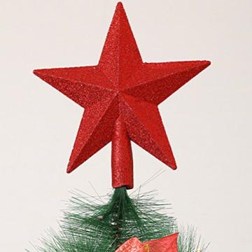 PRETYZOOM Glitzer Weihnachtsbaumspitze Christbaumspitze Baumspitze Tannenbaum Spitze Weihnachtsbaum Stern Weihnachtsstern für Xmas Party Deko (Rot) 20CM - 3
