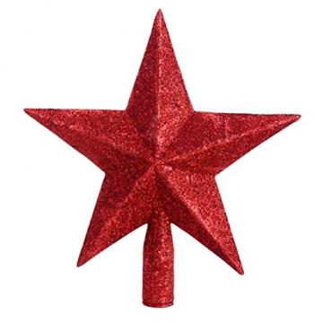 PRETYZOOM Glitzer Weihnachtsbaumspitze Christbaumspitze Baumspitze Tannenbaum Spitze Weihnachtsbaum Stern Weihnachtsstern für Xmas Party Deko (Rot) 20CM - 1