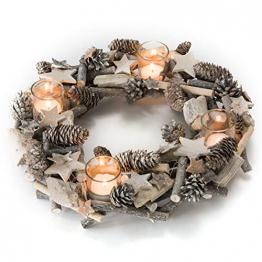 Pureday Adventskranz Shabby - Dekokranz mit Teelichtgläsern - Natur - ca. Ø 38 cm - 1