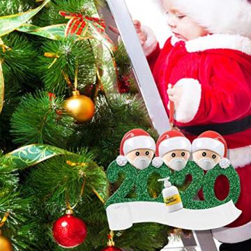 qiaoxiahe Weihnachtsferiendekoration Personalisierte Heimdekorationen Familie 2020 Besonderes Jahr Kleiner Mann mit Maske Anhänger für Christbaumschmuck an den Wänden an den Türverkleidungen der - 4