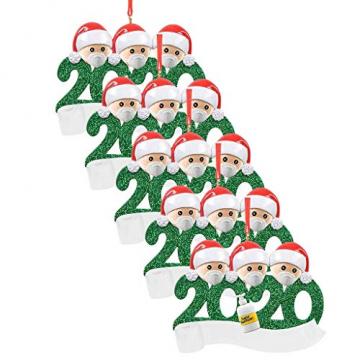 qiaoxiahe Weihnachtsferiendekoration Personalisierte Heimdekorationen Familie 2020 Besonderes Jahr Kleiner Mann mit Maske Anhänger für Christbaumschmuck an den Wänden an den Türverkleidungen der - 1
