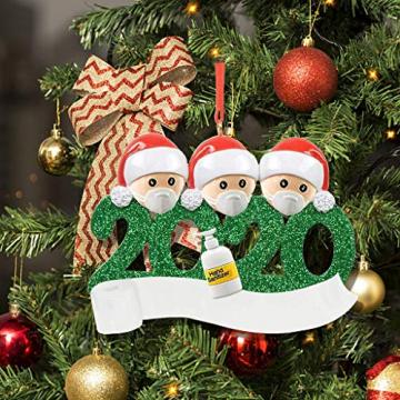 qiaoxiahe Weihnachtsferiendekoration Personalisierte Heimdekorationen Familie 2020 Besonderes Jahr Kleiner Mann mit Maske Anhänger für Christbaumschmuck an den Wänden an den Türverkleidungen der - 5