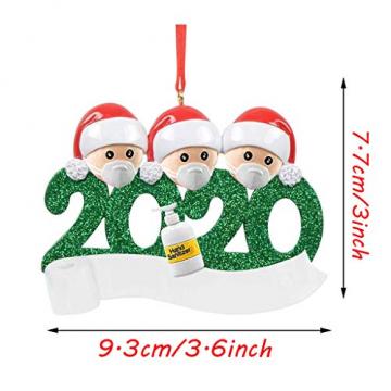 qiaoxiahe Weihnachtsferiendekoration Personalisierte Heimdekorationen Familie 2020 Besonderes Jahr Kleiner Mann mit Maske Anhänger für Christbaumschmuck an den Wänden an den Türverkleidungen der - 7