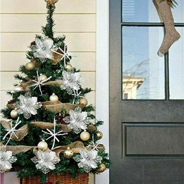 Queta 12 Stück Christmas Glitter Poinsettia Weihnachtsbaum Ornament Weihnachtsblumen künstliche Blumen Christbaumschmuck Weihnachten Hochzeit Kränze Dekoration 16cm (Weiß) - 2