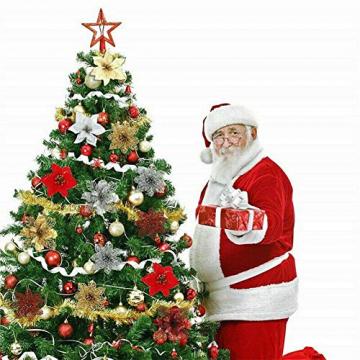Queta 12 Stück Christmas Glitter Poinsettia Weihnachtsbaum Ornament Weihnachtsblumen künstliche Blumen Christbaumschmuck Weihnachten Hochzeit Kränze Dekoration 16cm (Weiß) - 3