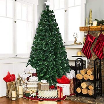RELAX4LIFE 150/180/210cm Künstlicher Weihnachtsbaum, Tannenbaum mit LED-Leuchten & Glasfasern (8 Beleuchtungsmodi & 6 Farben), Christbaum mit Metallständer & Sternspitze, Christbaum grün (180cm) - 3
