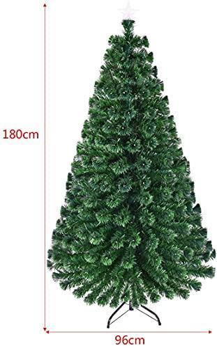 RELAX4LIFE 150/180/210cm Künstlicher Weihnachtsbaum, Tannenbaum mit LED-Leuchten & Glasfasern (8 Beleuchtungsmodi & 6 Farben), Christbaum mit Metallständer & Sternspitze, Christbaum grün (180cm) - 5