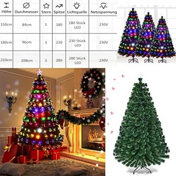 RELAX4LIFE 150/180/210cm Künstlicher Weihnachtsbaum, Tannenbaum mit LED-Leuchten & Glasfasern (8 Beleuchtungsmodi & 6 Farben), Christbaum mit Metallständer & Sternspitze, Christbaum grün (180cm) - 6