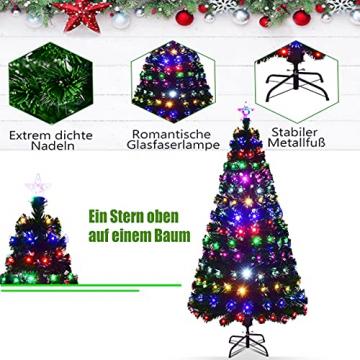 RELAX4LIFE 150/180/210cm Künstlicher Weihnachtsbaum, Tannenbaum mit LED-Leuchten & Glasfasern (8 Beleuchtungsmodi & 6 Farben), Christbaum mit Metallständer & Sternspitze, Christbaum grün (180cm) - 7