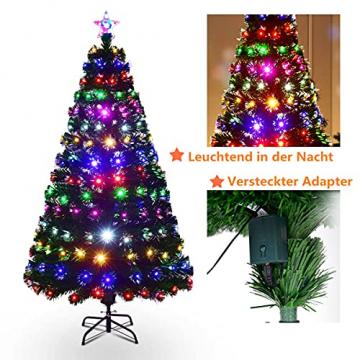 RELAX4LIFE 150/180/210cm Künstlicher Weihnachtsbaum, Tannenbaum mit LED-Leuchten & Glasfasern (8 Beleuchtungsmodi & 6 Farben), Christbaum mit Metallständer & Sternspitze, Christbaum grün (180cm) - 8