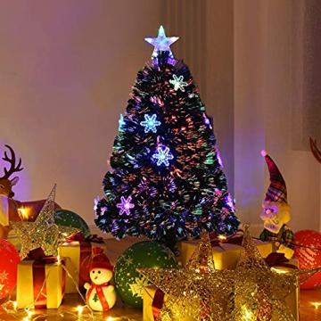RELAX4LIFE Künstlicher Weihnachtsbaum, Christbaum mit LEDs & Schneeflocke & Sternspitze, Kunstbaum Farbiger Glasfaser-Farbwechsler, Tannenbaum für Büro & Geschäften & Zuhause, PVC, grün (120 cm) - 2