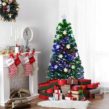 RELAX4LIFE Künstlicher Weihnachtsbaum, Christbaum mit LEDs & Schneeflocke & Sternspitze, Kunstbaum Farbiger Glasfaser-Farbwechsler, Tannenbaum für Büro & Geschäften & Zuhause, PVC, grün (120 cm) - 3