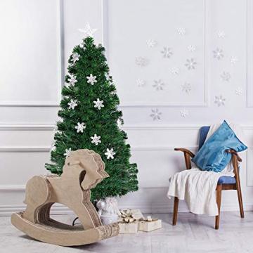 RELAX4LIFE Künstlicher Weihnachtsbaum, Christbaum mit LEDs & Schneeflocke & Sternspitze, Kunstbaum Farbiger Glasfaser-Farbwechsler, Tannenbaum für Büro & Geschäften & Zuhause, PVC, grün (120 cm) - 4