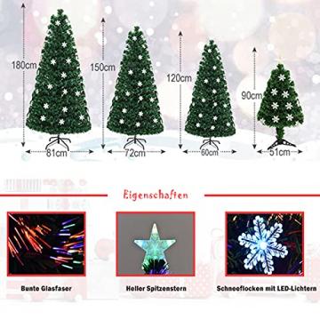 RELAX4LIFE Künstlicher Weihnachtsbaum, Christbaum mit LEDs & Schneeflocke & Sternspitze, Kunstbaum Farbiger Glasfaser-Farbwechsler, Tannenbaum für Büro & Geschäften & Zuhause, PVC, grün (120 cm) - 5