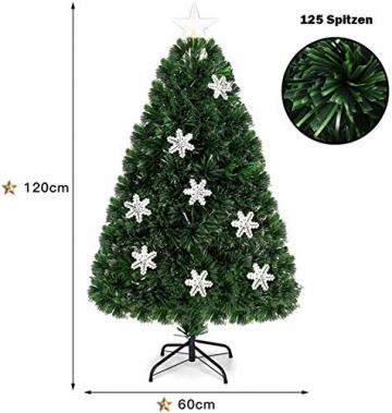 RELAX4LIFE Künstlicher Weihnachtsbaum, Christbaum mit LEDs & Schneeflocke & Sternspitze, Kunstbaum Farbiger Glasfaser-Farbwechsler, Tannenbaum für Büro & Geschäften & Zuhause, PVC, grün (120 cm) - 6
