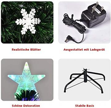 RELAX4LIFE Künstlicher Weihnachtsbaum, Christbaum mit LEDs & Schneeflocke & Sternspitze, Kunstbaum Farbiger Glasfaser-Farbwechsler, Tannenbaum für Büro & Geschäften & Zuhause, PVC, grün (120 cm) - 7