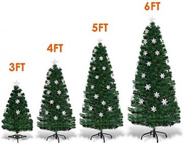 RELAX4LIFE Künstlicher Weihnachtsbaum, Christbaum mit LEDs & Schneeflocke & Sternspitze, Kunstbaum Farbiger Glasfaser-Farbwechsler, Tannenbaum für Büro & Geschäften & Zuhause, PVC, grün (120 cm) - 8