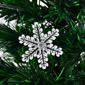RELAX4LIFE Künstlicher Weihnachtsbaum, Christbaum mit LEDs & Schneeflocke & Sternspitze, Kunstbaum Farbiger Glasfaser-Farbwechsler, Tannenbaum für Büro & Geschäften & Zuhause, PVC, grün (120 cm) - 9