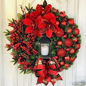 RMBLYfeiye Weihnachtskranz,Weihnachtsmann Türkranz Adventskranz Schneemann Weihnachten Kranz Dekokranz Hängende Tür Wand Verzierung Weihnachtskugelnkranz Fenster Dekoration Weihnachts-Party-Zubehör - 3