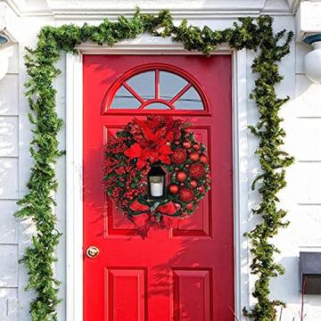 RMBLYfeiye Weihnachtskranz,Weihnachtsmann Türkranz Adventskranz Schneemann Weihnachten Kranz Dekokranz Hängende Tür Wand Verzierung Weihnachtskugelnkranz Fenster Dekoration Weihnachts-Party-Zubehör - 4