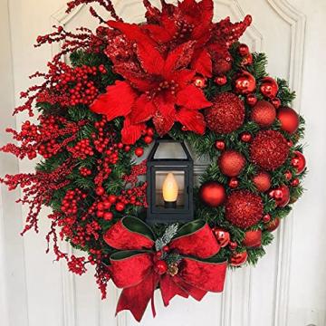 RMBLYfeiye Weihnachtskranz,Weihnachtsmann Türkranz Adventskranz Schneemann Weihnachten Kranz Dekokranz Hängende Tür Wand Verzierung Weihnachtskugelnkranz Fenster Dekoration Weihnachts-Party-Zubehör - 1