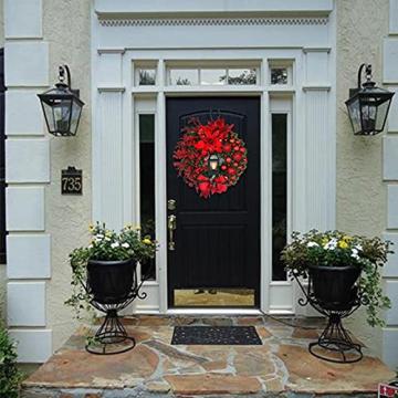 RMBLYfeiye Weihnachtskranz,Weihnachtsmann Türkranz Adventskranz Schneemann Weihnachten Kranz Dekokranz Hängende Tür Wand Verzierung Weihnachtskugelnkranz Fenster Dekoration Weihnachts-Party-Zubehör - 5