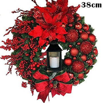 RMBLYfeiye Weihnachtskranz,Weihnachtsmann Türkranz Adventskranz Schneemann Weihnachten Kranz Dekokranz Hängende Tür Wand Verzierung Weihnachtskugelnkranz Fenster Dekoration Weihnachts-Party-Zubehör - 6