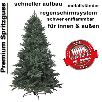 RS Trade HXT 1418 künstlicher PE Spritzguss Weihnachtsbaum 210 cm (Ø ca. 132 cm) mit ca. 4850 Spitzen, schwer entflammbarer Tannenbaum mit Schnellaufbau Klappsysem, inkl. Metall Christbaum Ständer - 2