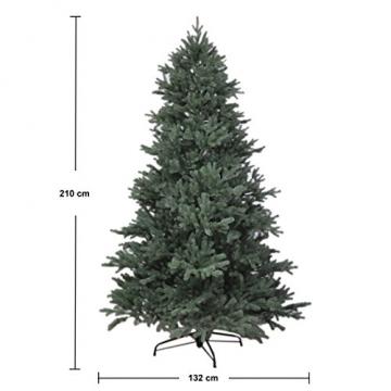 RS Trade HXT 1418 künstlicher PE Spritzguss Weihnachtsbaum 210 cm (Ø ca. 132 cm) mit ca. 4850 Spitzen, schwer entflammbarer Tannenbaum mit Schnellaufbau Klappsysem, inkl. Metall Christbaum Ständer - 3