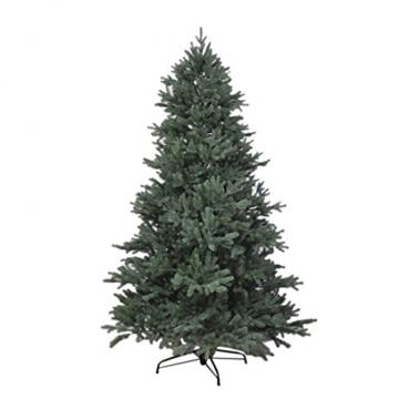 RS Trade HXT 1418 künstlicher PE Spritzguss Weihnachtsbaum 210 cm (Ø ca. 132 cm) mit ca. 4850 Spitzen, schwer entflammbarer Tannenbaum mit Schnellaufbau Klappsysem, inkl. Metall Christbaum Ständer - 1