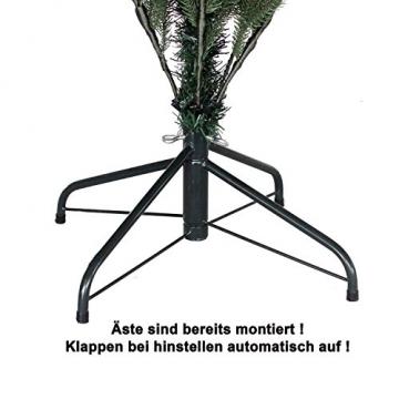 RS Trade HXT 1418 künstlicher PE Spritzguss Weihnachtsbaum 210 cm (Ø ca. 132 cm) mit ca. 4850 Spitzen, schwer entflammbarer Tannenbaum mit Schnellaufbau Klappsysem, inkl. Metall Christbaum Ständer - 5