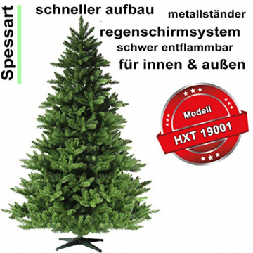 RS Trade HXT 19001 künstlicher Weihnachtsbaum 150 cm (Ø ca. 105 cm) mit 872 Spitzen und Schnellaufbau Klapp-Schirmsystem, schwer entflammbar, unechter Tannenbaum inkl. Metall Christbaum Ständer - 2