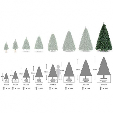 SALCAR Weihnachtsbaum künstlich 270cm mit 1468 Spitzen, Tannenbaum künstlich Schnellaufbau inkl. Christbaum-Ständer, Weihnachtsdeko - grün 2,7m - 5