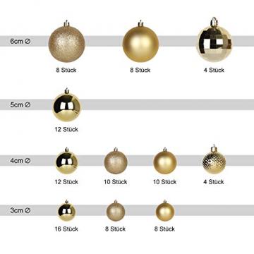 SALCAR Weihnachtskugeln Set Gold,Christbaumkugeln Plastik Bruchsicher mit Kunststoff Weihnachtsbaumkugeln Box, Weihnachtsbaum Deko & Christbaumschmuck-100 Stück - 2