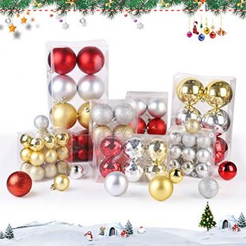 SALCAR Weihnachtskugeln Set Gold,Christbaumkugeln Plastik Bruchsicher mit Kunststoff Weihnachtsbaumkugeln Box, Weihnachtsbaum Deko & Christbaumschmuck-100 Stück - 4