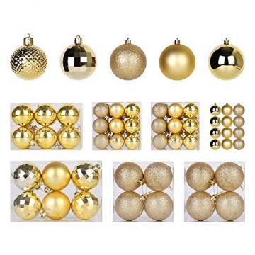 SALCAR Weihnachtskugeln Set Gold,Christbaumkugeln Plastik Bruchsicher mit Kunststoff Weihnachtsbaumkugeln Box, Weihnachtsbaum Deko & Christbaumschmuck-100 Stück - 1