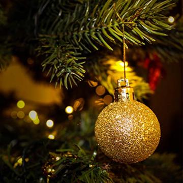 SALCAR Weihnachtskugeln Set Gold,Christbaumkugeln Plastik Bruchsicher mit Kunststoff Weihnachtsbaumkugeln Box, Weihnachtsbaum Deko & Christbaumschmuck-100 Stück - 5