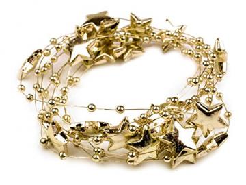 Schnoschi 2m Gold Sterne Perlenband Perlenkette Perlengirlande Perlenschnur Weihnachten Advent Deko Perlen Tischdeko Meterware - 2