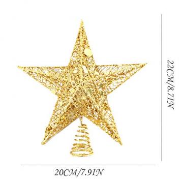 sdgfd Weihnachtsbaumspitze, Weihnachtsbaum Christbaumspitze Stern–Gold Glitzer Metall Baum Stern Großartiges Design - 2