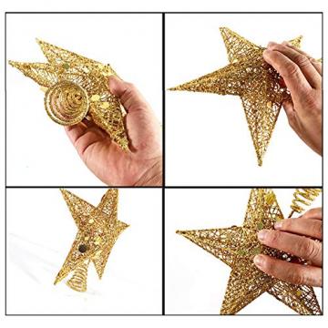 sdgfd Weihnachtsbaumspitze, Weihnachtsbaum Christbaumspitze Stern–Gold Glitzer Metall Baum Stern Großartiges Design - 3
