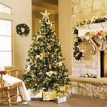 sdgfd Weihnachtsbaumspitze, Weihnachtsbaum Christbaumspitze Stern–Gold Glitzer Metall Baum Stern Großartiges Design - 4