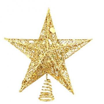 sdgfd Weihnachtsbaumspitze, Weihnachtsbaum Christbaumspitze Stern–Gold Glitzer Metall Baum Stern Großartiges Design - 1
